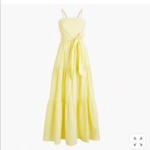 J. Crew Petite Tiered Maxi Dress in Yellow Stripe